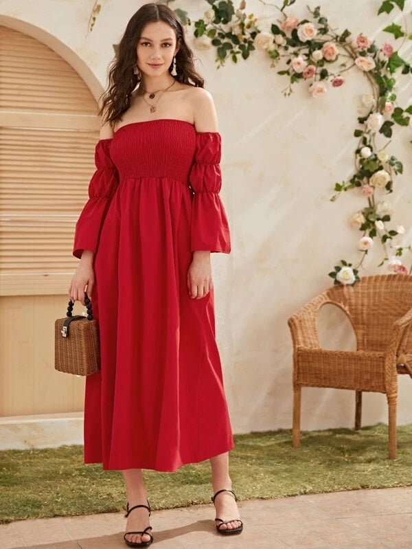 CM-DS225227 Women Bohemian Style Off Shoulder Gathered Sleeve Shirred Long Dress - Red