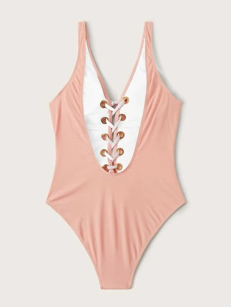 CM-SWS110773 Women Trendy Seoul Style Lace Up Front One Piece Swimsuit - Pink
