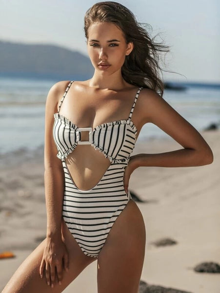 CM-SWS106548 Women Trendy Seoul Style Striped Frill Trim Bandeau One Piece Swimsuit