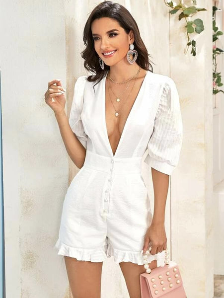 CM-JS226157 Women Casual Seoul Style Plunging Neck Puff Sleeve Frill Trim Romper - White