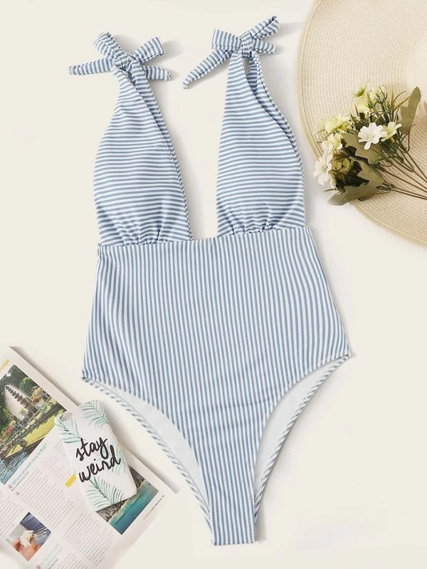 CM-SWS114072 Women Trendy Seoul Style Striped Tie Shoulder Plunging One Piece Swimsuit - Blue