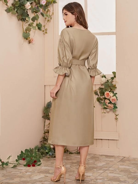 CM-DS109826 Women Casual Seoul Style Button Front Belted Flounce Sleeve Floral Print Dress - Khaki