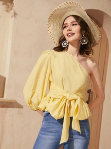 CM-TS206608 Women Casual Seoul Style One Shoulder Bishop Sleeve Belted Peplum Top - Yellow