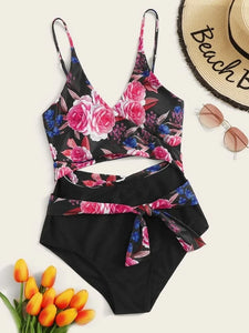CM-SWS116238 Women Trendy Seoul Style Wrap Random Floral Print One Piece Swimsuit