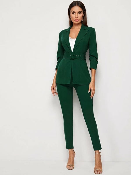 CM-SS206760 Women Elegant Seoul Style Long Sleeve Adjustable Belted Blazer With Long Pants - Set