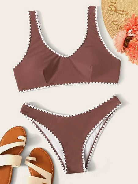 CM-SWS213718 Women Trendy Seoul Style Whip Stitch Top With Panty Bikini Set - Brown