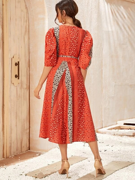 CM-DS207995 Women Elegant Seoul Style Deep V-Neck Ditsy Floral Self Tie Puff Sleeve Dress - Red