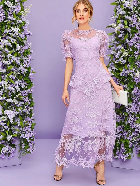 CM-DS225787 Women Elegant Seoul Style Puff Sleeve Ruffle Trim Embroidered Mesh Overlay Dress - Purple