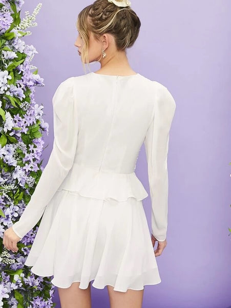 CM-DS225895 Women Elegant Seoul Style Gigot Sleeve Button Front Ruched Short Dress - White