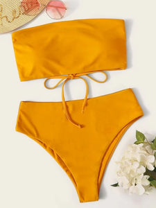 CM-SWS217295 Women Trendy Seoul Style Tie Back Bandeau With High Waist Bikini Set - Yellow