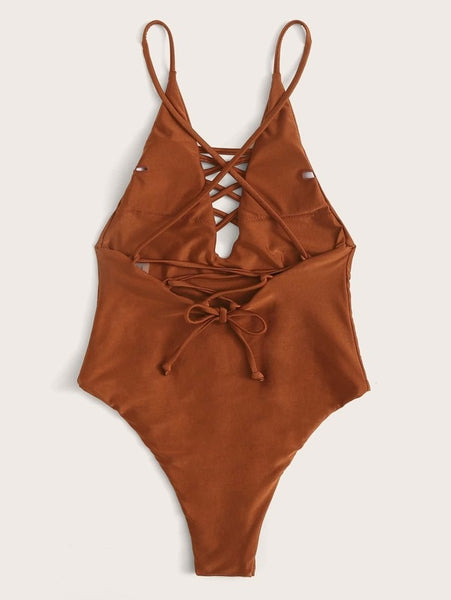 CM-SWS219131 Women Trendy Seoul Style Lattice Front Tie Back One Piece Swimsuit - Brown