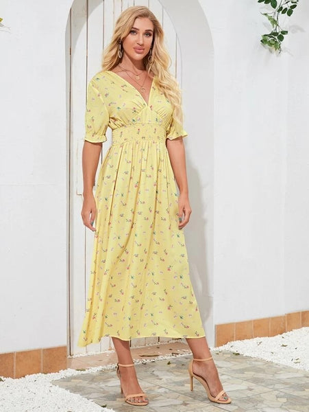 CM-DS203438 Women Casual Seoul Style Short Sleeve Floral Print Open Back A-Line Dress - Yellow