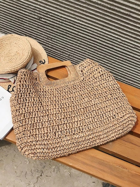 CM-BGS226558 Women Trendy Bohemian Style Braided Tote Bag With Wooden Handle - Khaki