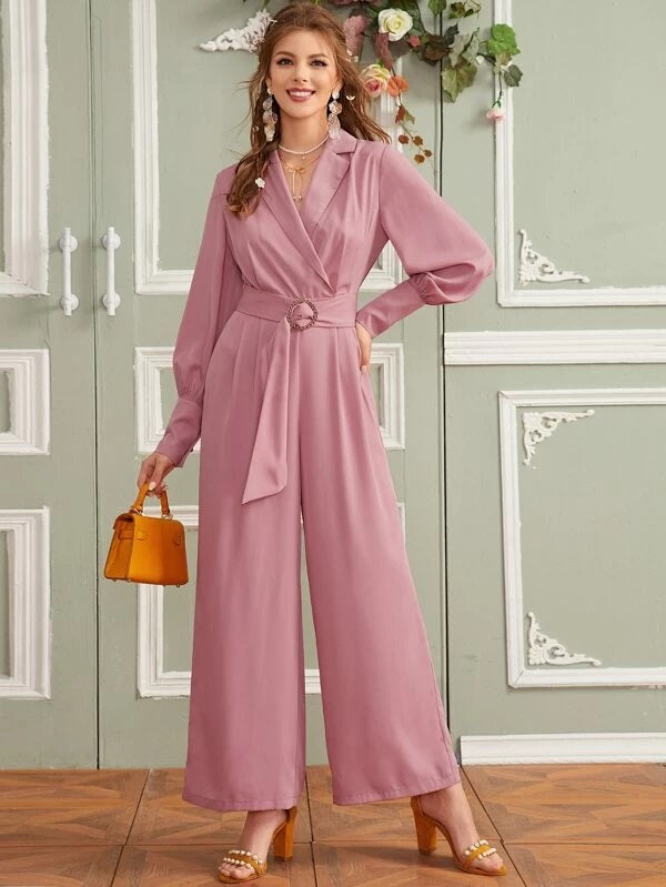CM-JS219944 Women Elegant Seoul Style Notched Collar O-Ring Belted Wide Leg Jumpsuit - Pink