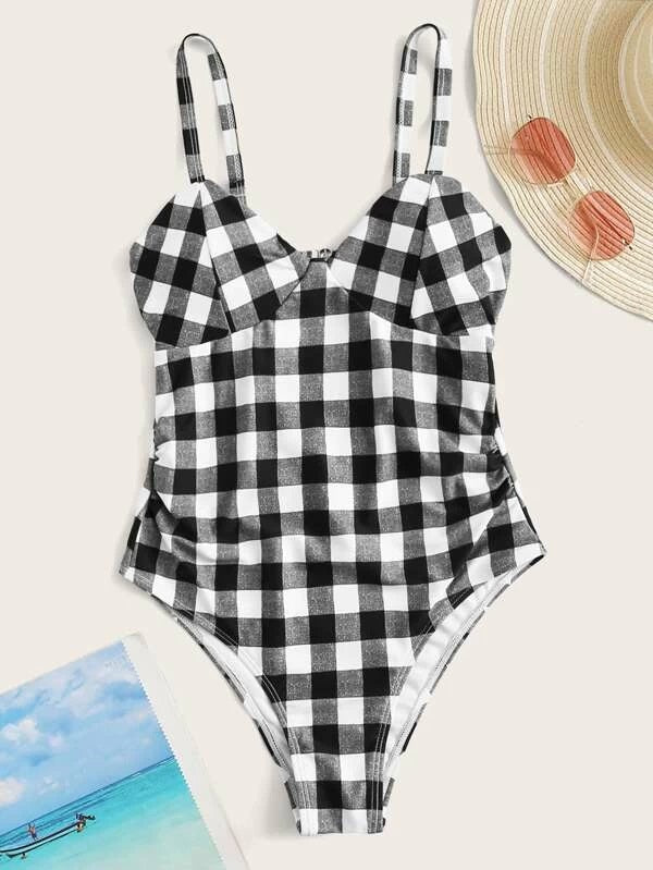 CM-SWS304910 Women Trendy Seoul Style Gingham Ruched One Piece Swimsuit - Black