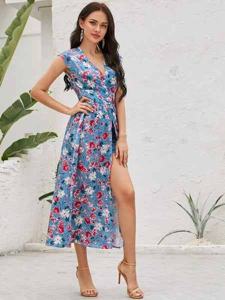 CM-JS228192 Women Casual Seoul Style V-Neck Button Front Floral Romper With Undetachable Skirt