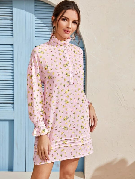 CM-DS309416 Women Casual Seoul Style Long Sleeve Floral Print Ruffle Neck Tunic Dress - Pink