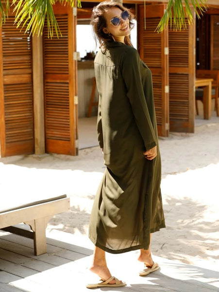CM-DS304526 Women Casual Seoul Style Long Sleeve Split Side Button Up Shirt Dress - Army Green