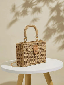 CM-BGS323064 Women Trendy Bohemian Style Woven Structured Box Bag - Khaki