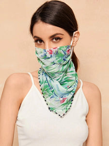 CM-FS317237 Women Leaf Print Sunscreen Scarf Mask