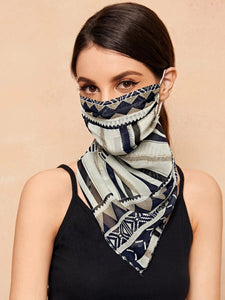 CM-FS316294 Women Geometric Striped Print Sunscreen Scarf Mask