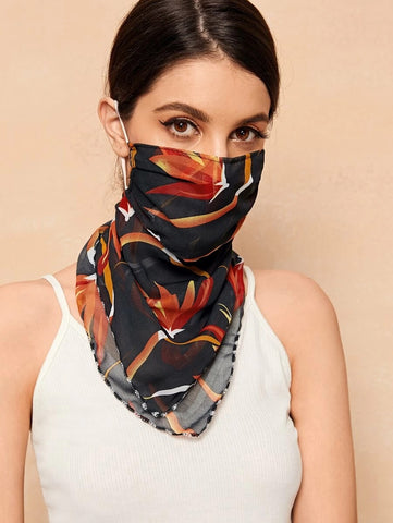 CM-FS316611 Women Floral Pattern Sunscreen Scarf Mask