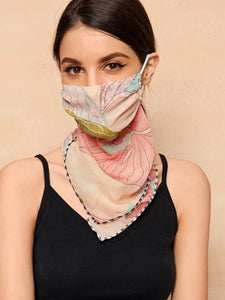 CM-FS316952 Women Floral Pattern Sunscreen Scarf Mask