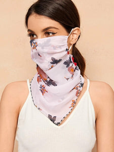 CM-FS316903 Women Floral Pattern Sunscreen Scarf Mask
