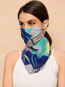 CM-FS317040 Women Floral Pattern Sunscreen Scarf Mask