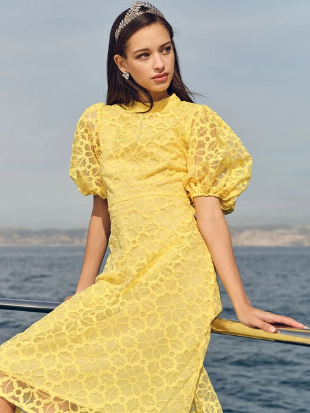 CM-DS206542 Women Elegant Seoul Style Mock-Neck Puff Sleeve Embroidery Mesh Dress - Yellow