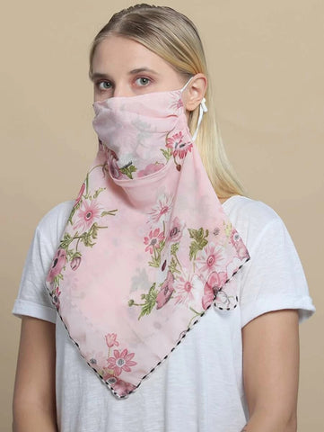 CM-FS325160 Women Floral Pattern Sunscreen Scarf Mask