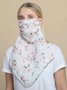 CM-FS325612 Women Floral Pattern Sunscreen Scarf Mask