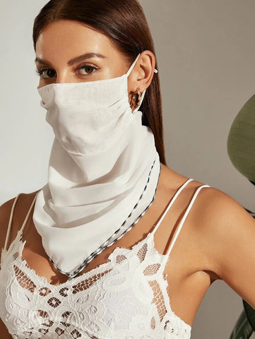 CM-FS316265 Women Contrast Trim Sunscreen Scarf Mask - White