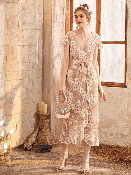 CM-DS401232 Women Elegant European Style V-Neck Lace Ruffle Hem Belted Wrap Dress - Nude