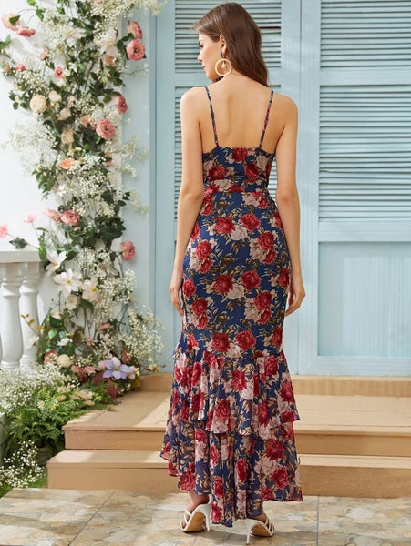 CM-DS401627 Women Elegant Seoul Style Sleeveless Asymmetrical Ruffle Hem Floral Print Cami Dress