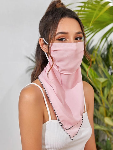 CM-FS325624 Women Plain Sunscreen Scarf Mask - Pink