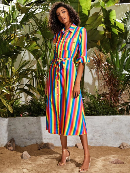 CM-DS416239 Women Casual Seoul Style Ruffle Hem Flap Pocket Belted Rainbow Striped Dress