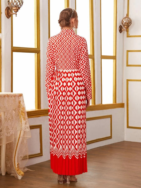CM-DS415588 Women Elegant European Style Geometric Print Pleated Shirt Long Dress - Red