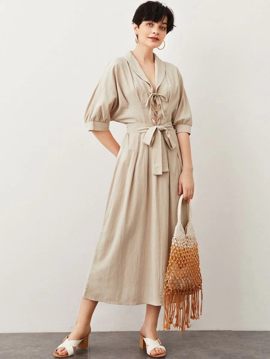 CM-DS413872 Women Casual Seoul Style Half Sleeve Shawl Collar Lace Up Front Belted Dress - Khaki