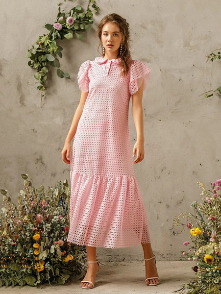 CM-DS414747 Women Elegant Seoul Style Short Sleeve Solid Ruffle Hem Hollow Out Dress - Pink