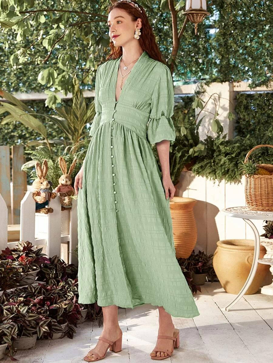 CM-DS428235 Women Elegant Seoul Style Plunging Neck Flounce Sleeve A-Line Long Dress - Green