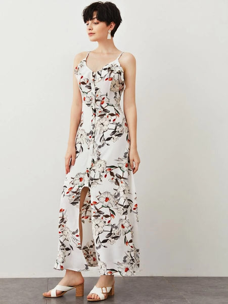 CM-DS428153 Women Trendy Bohemian Style Sleeveless Floral Print Slit Front Maxi Cami Dress - White
