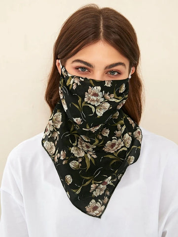 CM-FS415153 Women Floral Pattern Silk Scarf Mask - Black