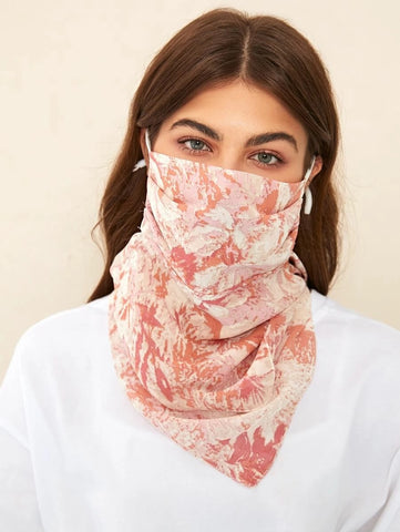 CM-FS415309 Women Graphic Pattern Silk Scarf Mask - Pink