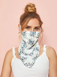CM-FS421580 Women Floral Pattern Sunscreen Scarf Mask - White