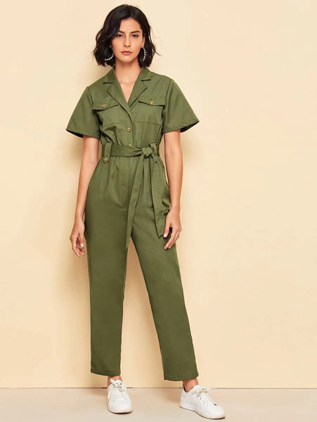 CM-JS429238 Women Elegant Seoul Style Notch Collar Flap Pocket Patched Self Belted Shirt Jumpsuit