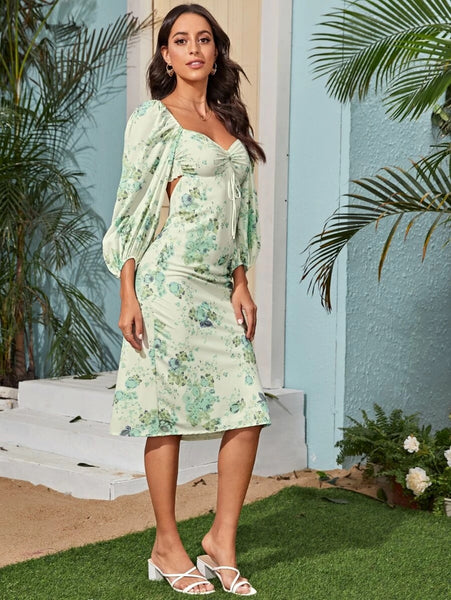 CM-DS420620 Women Elegant European Style Allover Floral Print Ruched Shirred Back Long Dress - Green
