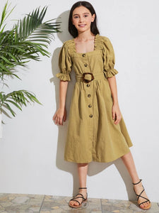 CM-KDS506074 Girls Trendy Bohemian Style Square Neck Frill Trim Button Front Buckle Belted Dress