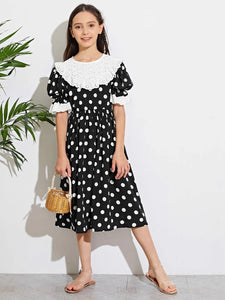 CM-KDS504775 Girls Casual Round Neck Ruffle Cuff Schiffy Detail Polka Dot Dress - Black