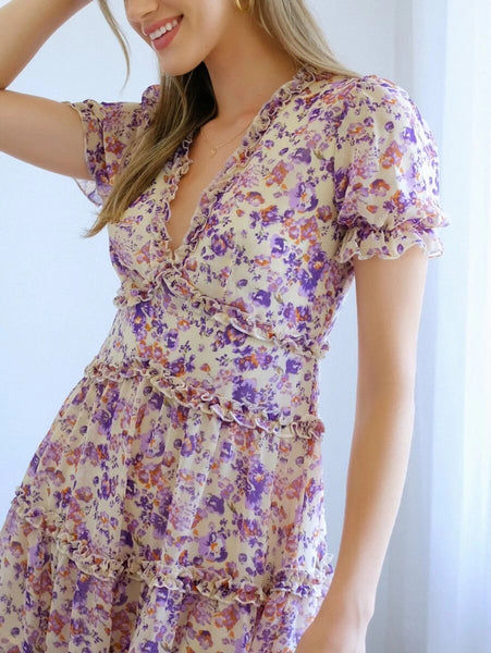 CM-DS326780 Women Trendy Bohemian Style Puff Sleeve Frill Trim Floral Print A-Line Short Dress